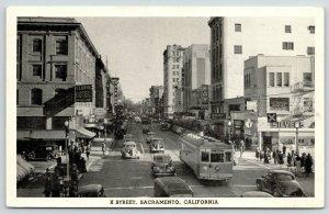 Sacramento CA~K Street~Silver's~Kress 5&10c Store~Hale Bros~Trolley~1942 B&W PC