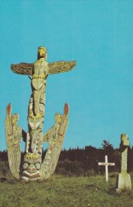 ALERT BAY, British Columbia, Canada, 1940-1960's; Kwakiutl Totem Poles