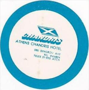 GREECE ATHENS CHANDRIS HOTEL VINTAGE LUGGAGE LABEL