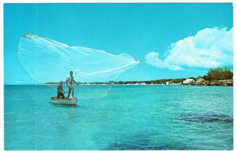 Barbados Fishermen Casting Nets from Boat on South Coast 1960s-1970s Postcard