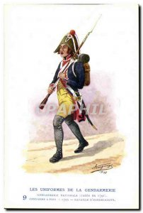Old Postcard The uniforms of the gendarmerie Gendarme MArechausee walk & # 17...