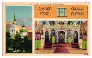 Mid-1900s Russian Orthodox Church, Sitka, AK Postcard