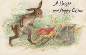 EASTER , 00-10s ; Rabbit pushes Egg Cart ; TUCK 112