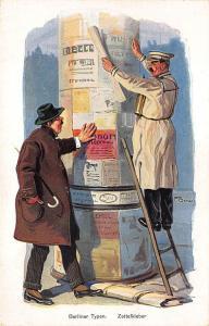 Signed F. Bersch Germany Berliner Typen Zettelkleber Postcard