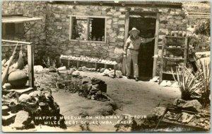 1940s JACUMBA, California RPPC Real Photo Postcard HAPPY'S MUSEUM on Highway 80
