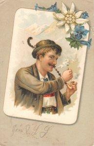 US3038 Man smoking Pipe, Flowers Edelweiss bavaria costume germany