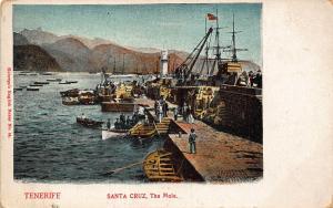 Spain Tenerife Santa Cruz The Mole Harbour Boats Lighthouse Postcard