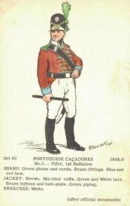 Military Postcard Portuguese Cacadores 1808 02.11