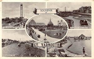 Souvenir of Gt. Yarmouth, Bathing Pool Boating Lake Waterways Wellington Pier