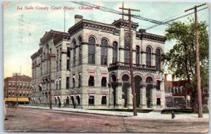 Ottawa, Illinois Postcard La Salle County Court House Street View 1909 Cancel