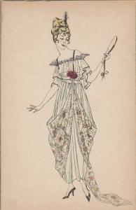 ART DECO ; Female wearing blouse and skirt outfit, red roses, 1910-20s