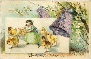 Clapsaddle Easter~Little Girl Blind-Folded~Chicks Play~Flower Bell~Embossed~1909