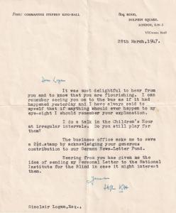 WW2 Commander Baron Stephen Hall King HMS Southampton Ship Hand Signed Letter