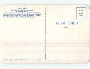 Bent - 1950's CHINA MAID RESTAURANT Wareham Massachusetts MA