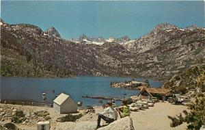 Unposted c1960s Postcard Lake Sabrina CA Boat Landing Cafe Tackle Shop Inyo Co.