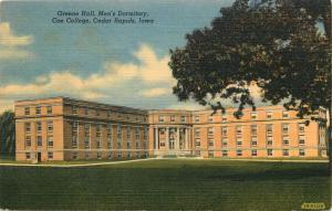 Cedar Rapids, IA, Coe College, Greene Hall, Men's Dorm, Vintage Postcard c5835