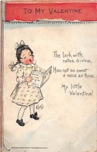E71/ Valentine's Day Love Postcard c1910 Girl Singing E. Curtis Signed 24