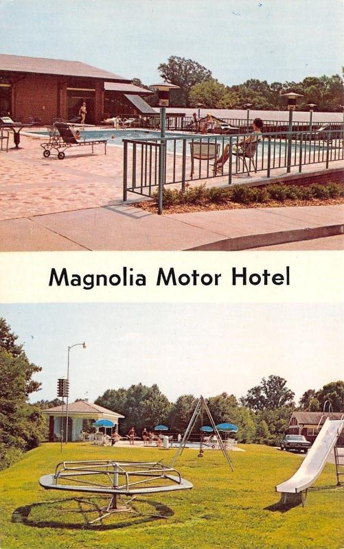 Vicksburg MS Magnolia Motel~Playground: Merry-Go-Around~Slide~Swings 1960s
