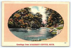 Postcard MI Somerset Center Greetings from Somerset Center Vintage Linen R27
