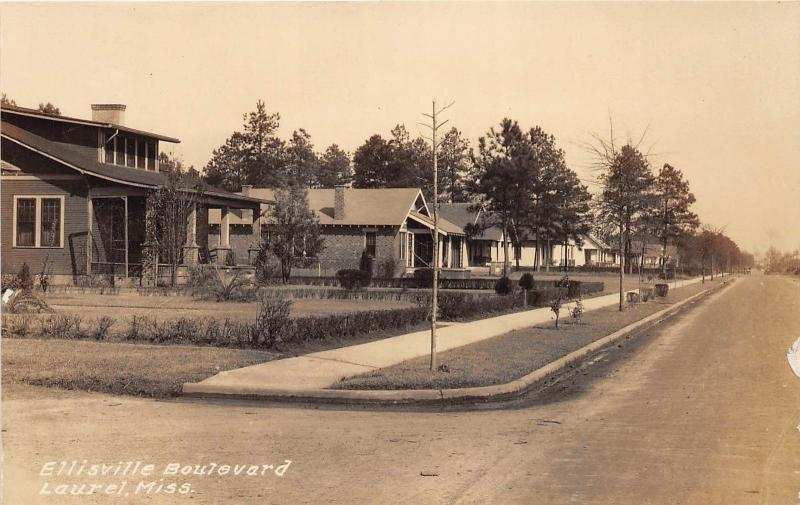 E47/ Laurel Mississippi Real Photo RPPC Postcard c1910 Ellisville Boulevard Home