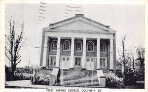 Columbia Kentucky~First Baptist Church~2 Double Doors~Pillars & Steps~1945 B&W P