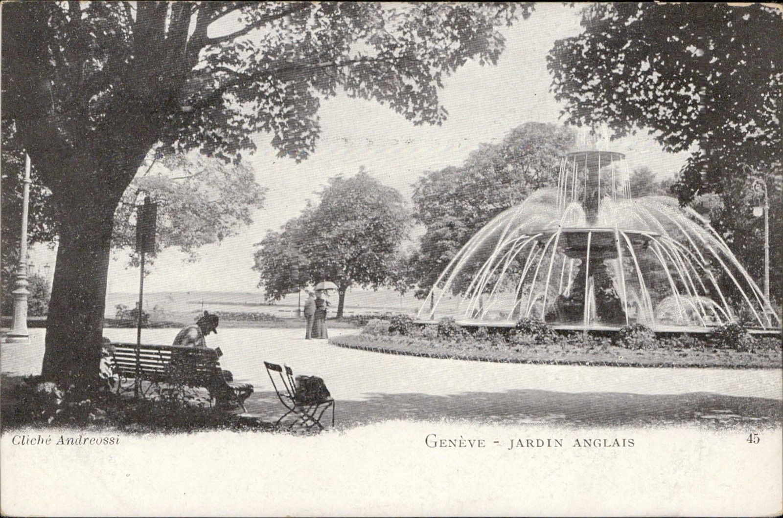 Geneve Jardin Anglais Water Fountain Suisse Switzerland Hippostcard