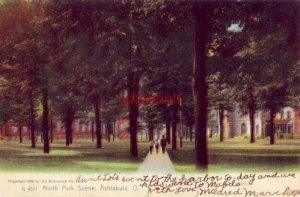 pre-1907 NORTH PARK SCENE, ASHTABULA, OH 1908