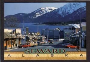 AK Main Street Downtown SEWARD ALASKA & Kenai Mountains