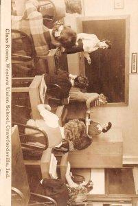 Crawfordsville Indiana Western Union School Women Real Photo Postcard JI658277