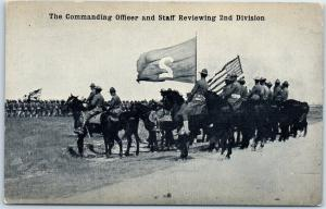 1910s Mexican Revolution Postcard Commanding Officer Reviewing 2nd Division
