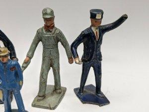 Cast Metal Lincoln Logs Toy Figures Worker Attendant Black Man Vtg LOT of 8 E4