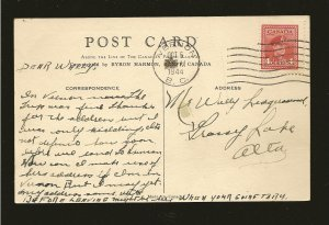 Postmarked 1944 Vernon BC Chateau Lake Loise Banff National Park CPR Postcard