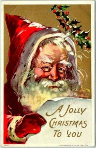 Vintage SANTA CLAUS Embossed Postcard A JOLLY CHRISTMAS TO YOU / 1910 Cancel
