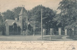 Mt Hope Cemetery Entrance, Rochester, New York - pm 1905 - UDB