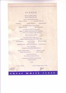 TSS Peten Cruise Ship Dinner Menu, Great White Fleet, At Sea, July 24, 1934,