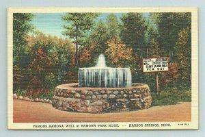 Ramona Well Park Hotel Fountain Harbor Springs Artesian Michigan MI Postcard