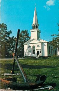 Sears Port Maine~Congregational Church~Ship Anchor in Yard~1950s Postcard