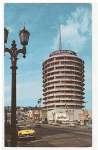 Capitol Records Tower Taxi Cab Street Hollywood Los Angeles California postcard