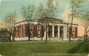 Columbus Barracks-Fort Hayes~Post Headquarters & Homes on Each Side '10 Postcard