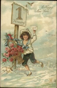 New Year Fancy Boy Shorts Flower Basket Gilt Embossed Postcard c1910