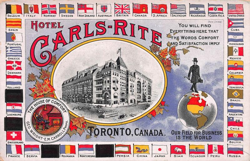 Hotel Carls-Rite, Toronto, Ontario, Canada, early Postcard, Unused,