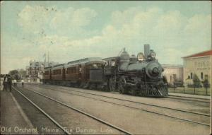 Old Orchard Beach ME RR Train The Dummy Line Unusual Postal Cancel 1910 PC