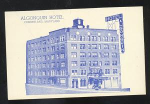 CUMBERLAND MARYLAND ALGONQUIN HOTEL VINTAGE ADVERTISING POSTCARD