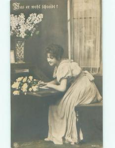 tinted rppc c1910 Risque PRETTY GIRL POSING AC9034