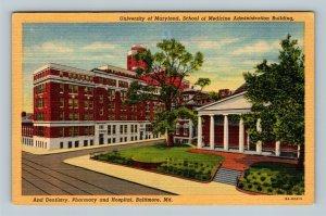 Baltimore MD University of Maryland, School of Medicine, Hospital Linen Postcard
