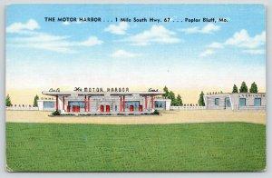 Poplar Bluff MO~Motor Harbor Service Station~Roadside Diner~1950 Linen~ART DECO