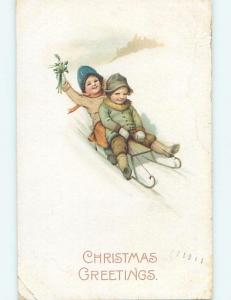 Bent corner Pre-Linen new year foreign FRENCH KIDS RIDE ON TOBOGGAN SLED ho3854