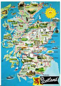 postcard map of SCOTLAND Whiteholme of Dundee unposted