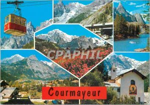 Postcard Modern Courmayeur the funivia per il rufudio Torino ingresso al tral...