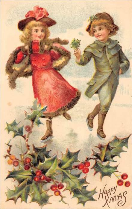 Christmas Victorian dressed children  dancing